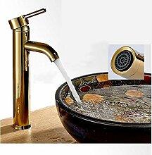 Einfache goldene Kupfer kalt- und Einhebel-Waschtisch-Armatur
