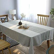 einfache graue Tischdecke Leinen baumwolle dekoration Multifunktions Hotel Couchtisch Esstisch Geschirr Staub Tuch , 130*200cm