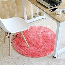 Einfache Ideen Schlafzimmer Wohnzimmer Fußmatten runden Korb Korbstühle Computer Stuhl saugfähige rutschfeste Matte, 90 * 90cm ( Farbe : Pink )