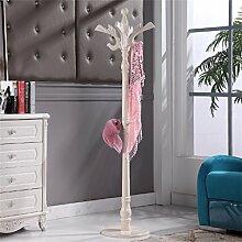 Einfache Installation / Überlegene Qualität Massivholz Mantel Racks Boden Kleiderbügel Modern Simplicity Hangers European Style Langlebig / gesund / starkes Lager ( farbe : Lvory white )
