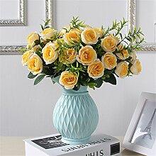 Einfache keramische Grid Vase, Blau, kleine Größe für Mittelstücke Wohnzimmer Weihnachten Geburtstag Hochzeit Party Geschenk Desktop Home Decor