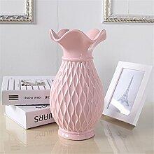 Einfache keramische Grid Vase, Rosa, Groß für Mittelstücke Wohnzimmer Weihnachten Geburtstag Hochzeit Party Geschenk Desktop Home Decor