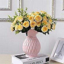 Einfache keramische Grid Vase, Rosa, kleine Größe für Mittelstücke Wohnzimmer Weihnachten Geburtstag Hochzeit Party Geschenk Desktop Home Decor