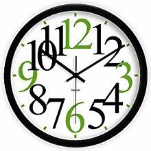 Einfache Mode Stil Wohnzimmer Uhr Statische High-Definition Glasspiegel Hängen Glocken Uhr Einfache Digitale Grün Hängenden Tisch Kreative Runde Wanduhr -Wall clock ( Farbe : B )