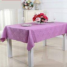 Einfache Moderne Familie Tischtuch Stoff Baumwolle Leinen Teetisch Romantische Und Warme Tischdecke-tuch waschbar.-Lila 160x160cm(63x63inch)