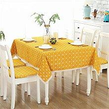 Einfache moderne gelbe Gitter rechteckige Tischdecke für Esszimmer, Teetisch, Picknicks, Parteien 140 x 180cm