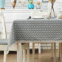 Einfache moderne graue Gitter rechteckige Tischdecke für Esszimmer, Teetisch, Picknicks, Partys 100 x 140cm