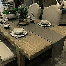 Einfache Moderne Nachahmung Leinen Tisch Einfarbige Tapete,Couchtischdecke Neue Chinesische Tischmatte,Bett-revolver Bett Handtuch-A 34x210cm(13x83inch)