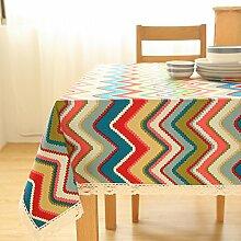 Einfache Moderne Streifen Stoff Tischdecke,Leinen Tischmatten Couchtisch Tuch,Nachttischschrank Tv-schrank Deckel Handtuch Tischmatte-B 140x140cm(55x55inch)