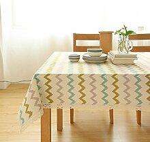 Einfache Moderne Streifen Stoff Tischdecke,Leinen Tischmatten Couchtisch Tuch,Nachttischschrank Tv-schrank Deckel Handtuch Tischmatte-A 140x220cm(55x87inch)