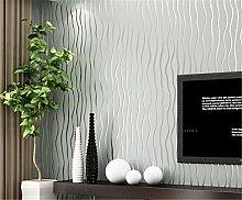 Einfache moderne Streifen Vliesfasertapete 3D-Tapete Studie Schlafzimmer Wohnzimmer TV Hintergrund Tapete, hellgrau, 0.53m*10m