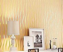 Einfache moderne Streifen Vliesfasertapete 3D-Tapete Studie Schlafzimmer Wohnzimmer TV Hintergrund Tapete, goldfarben, 0.53m*10m