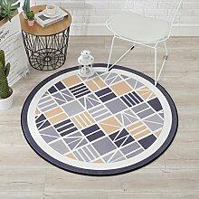 Einfache nordische geometrische Muster runde Schlafzimmer Wohnzimmer Couchtisch Computer Stuhl Matte ( Farbe : 1 , größe : 100cm )