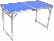 Einfache Portable Klapptisch Eine Tabelle zwei Nutzungen, Home/Picknick/Camping/Grill Bankett/Party/Markt/Garten 120 * 60 * 68,5 cm Trag 80KG (Farbe : Blau, größe : Umbrella hole)