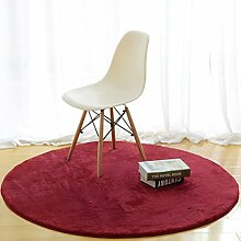 Einfache runde Teppich Teestube Schlafzimmer Wohnzimmer Bettdecke Korb Decke Hause Einfarbig Computer Stuhl Matten , 4 , 100*100cm