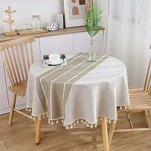 Einfache Runde Tischdecke Mit Fransen, Staubdichte