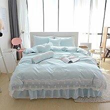 Einfache Spitze Spitze Baumwolle Pastoral Prinzessin Wind, Bett Rock, 4 Sätze von Bettwäsche (1 Bettwäsche + 1 Steppdecke + 2 Kissenbezüge) , A , 1.8m bed