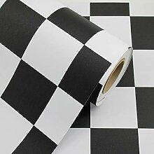 Einfache Tapete selbstklebend, schwarz-weiß