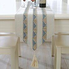 Einfache und moderne Tisch L?ufer Tischdecke/Europ?ische Modestil gestreiften Leinen Stoff-Servietten-A 33x210cm(13x83inch)