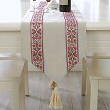 Einfache und moderne Tisch L?ufer Tischdecke/Europ?ische Modestil gestreiften Leinen Stoff-Servietten-D 33x210cm(13x83inch)