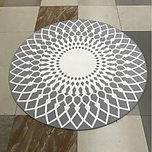 Einfache und stilvolle schwarze und weiße runde Matten, Wohnzimmer / Couchtisch Teppiche, Schlafzimmer / Studie / Club Modell Teppich ( Farbe : Grau , größe : 80*80cm )