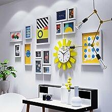 Einfache Wanduhr Bilderrahmen Rahmenwand geeignet für Wohnzimmer Esszimmer Schlafzimmer 15 Stück ( Color : B )