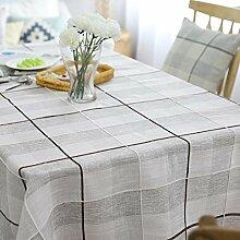 einfachen pastoralen stil Tischdecke Leinen baumwolle gitter dekoration Multifunktions Hotel Couchtisch Esstisch Geschirr Staub Tuch , B , 130*240cm
