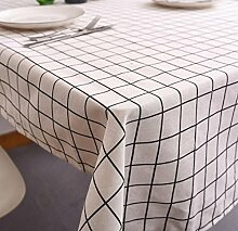 Einfacher moderner Nord-Eu-Gitter-Tischdecken-Baumwollstoff-rechteckiger Garten, weiß, 90X90Cm