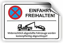 EINFAHRT FREIHALTEN - Parken verboten Schild / PV-005 (45x30cm Aufkleber)