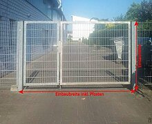 Einfahrtstor 2-flügelig asymmetrisch verzinkt / Breite: 300 / Höhe 180cm / 1,0m + 2,0m / Tor Hoftor Doppeltor Gartentor