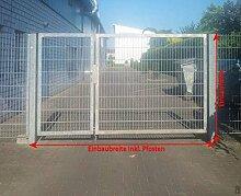 Einfahrtstor 2-flügelig asymmetrisch verzinkt / Einbau-Breite: 500 / Einbau-Höhe 200cm / Aufteilung 1,5m + 3,5m / Tor Hoftor Doppeltor Gartentor