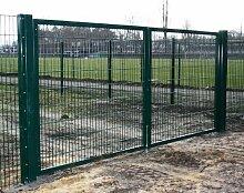 Einfahrtstor 2-flügelig / Grün beschichtet / 600cm x 180cm / Inklusive 2 Pfosten (60mm x 60mm) / Mattentor Industrietor grün Breite 600cm x Höhe 180cm
