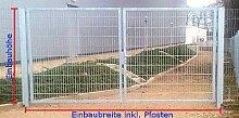 Einfahrtstor 2-flügelig Verzinkt - Inklusive 2 Pfosten / Einbau-Breite: 500cm - Einbau-Höhe: 200cm - Rahmen: 60 x 30mm / Mattentor Industrietor