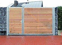Einfahrtstor 450cm breit und 180cm hoch / Hochwertiges 2-flügeliges asymmetrisch geteiltes Tor / 1,5m + 3,0m / Verzinkt mit Holzfüllung / Holz Tor Gartentor