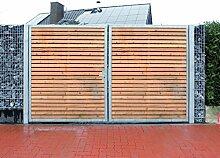 Einfahrtstor / Einbau-Breite 450cm / Einbau-Höhe 160cm / 2-flügelig / Holz-Füllung / Symmetrische Aufteilung / Verzinkt / Holz Tor Gartentor Holztor