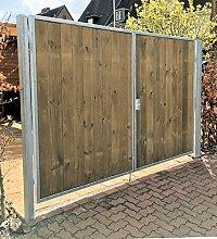 Einfahrtstor / Einbaubreite 400 cm / Einbauhöhe 160 cm / Hochwertiges 2-flügeliges symmetrisch geteiltes Tor / Verzinkt mit Holzfüllung / Holz Tor Gartentor Hoftor