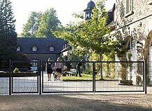 Einfahrtstor Toranlage 3-flügelig Grau Tor Hoftor Doppel Gartentor 550cm x 143cm