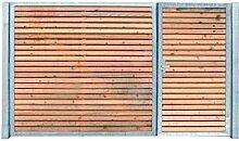 Einfahrtstor Verzinkt Holz Tor quer Asymmetrisch