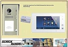 EINFAMILIENHAUS AP GEGENSPRECHANLAGE DT607/FE/ID/S1 180° WEITWINKEL + RFID +T47MG V2 PAN TILT VIDEOSPEICHER SPRECHANLAGE 1 Monitor weiß / Glasfron