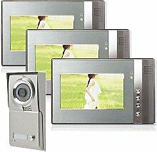 Einfamilienhaus Farb Video Türsprechanlage 3 Monitore 1 Aussenstation