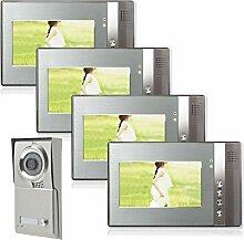 Einfamilienhaus Farb Video Türsprechanlage 4 Monitore 1 Aussenstation