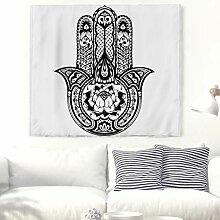 Einfarbig Hamsa Hand mit Lotus Totem Wandteppich
