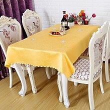 einfarbig Muster Polyester Tischdecke Runde Quadratischen tisch hochzeit Hotel Couchtisch Esstisch Geschirr dekoration Muster Staub Tuch , yellow , 140*180cm