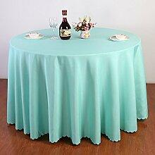 einfarbig Polyester Tischdecke Runde Quadratischen tisch hochzeit Casual Dining Hotel Couchtisch Waschbar Staub Tuch , Blau Lake , round 2.6m