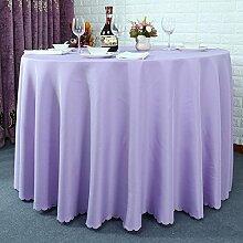 einfarbig Polyester Tischdecke Runden tisch hochzeit Hotel Couchtisch Esstisch Geschirr dekoration Staub Tuch , Purple , round 2.4m
