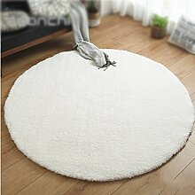 Einfarbig runde teppich / dicke 4 cm teppich / wohnzimmer wohnzimmertisch schlafzimmer nacht teppich / kinder zelt teppich / pet pad / korb stuhlmatte ( Farbe : Weiß , größe : Diameter 120cm )