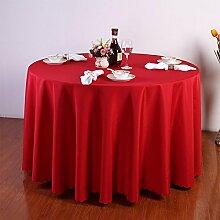einfarbig Tischdecke Quadrat, runde leinwandbindung hochzeit Hotel Couchtisch Esstisch Geschirr dekoration Staub Tuch , Red , round 2.8m