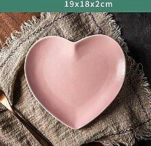 Einfarbige Herzform Keramik Essteller Porzellan