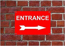 "Eingang rechts Pfeil wetterfest Schild aus Aluminium 5119, PVC oder Aufkleber 15cm x 20cm approx 6"" x 8"" Dilite 3mm Other Colours"