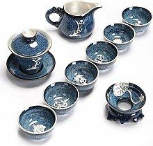 Eingelegte Sterling Silber Muster Kung Fu Tee Set